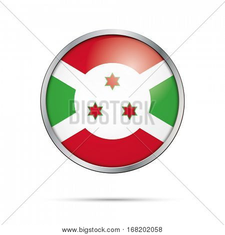 Vector Burundian flag button. Burundi flag glass button style with metal frame.