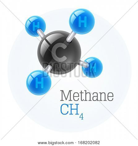 Physical chemical molecule model gas methane. Assembly carbon hydrogen. Combustible gaseous fuel for obtaining energy. Science vector illustration. Isolated white background. Chemistry conceptual icon