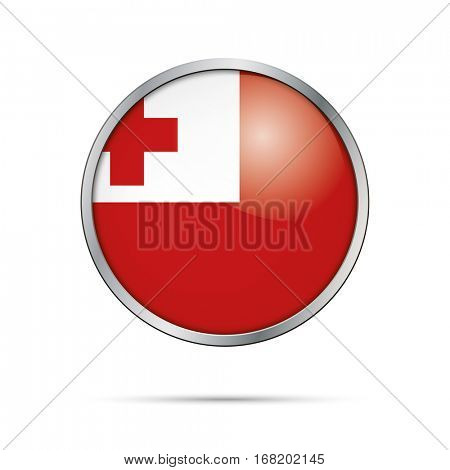 Vector Tongan flag button. Tonga flag glass button style with metal frame.