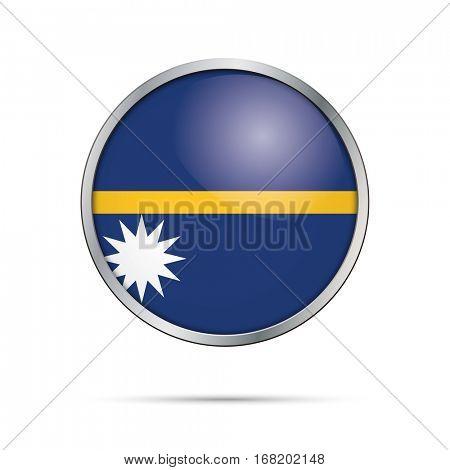 Vector Nauruan flag button. Nauru flag glass button style with metal frame.