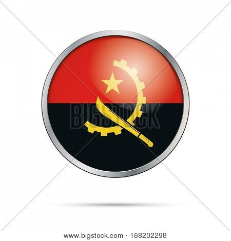 Vector Angolan flag button. Angola flag glass button style with metal frame.