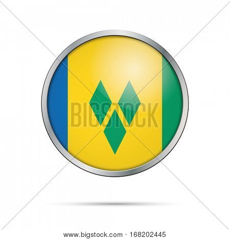 Vector Saint Vincent and the Grenadines flag glass button style with metal frame.