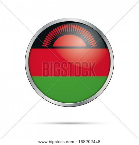 Vector Malawian flag button. Malawi flag glass button style with metal frame.