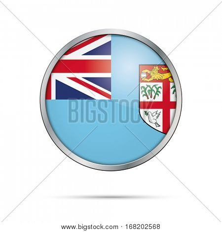 Vector Fiji Islands flag glass button style with metal frame.