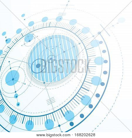 3d engineering technology vector backdrop. Futuristic technical plan mechanism. Blue mechanical scheme dimensional abstract industrial design can be used as website background.