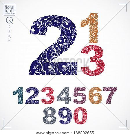 Set of vector ornate numbers flower-patterned numeration. Colorful characters created using herbal texture.
