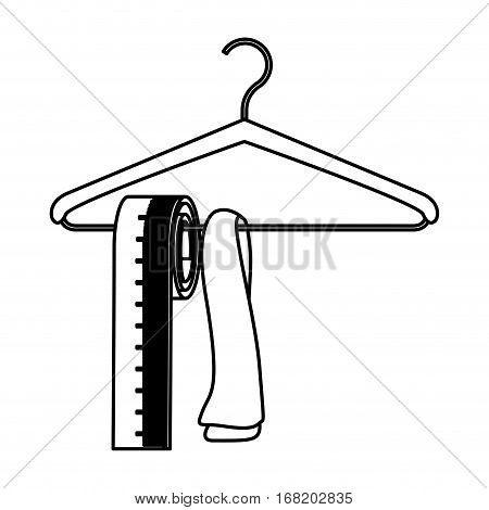 monochrome contour with hook closet shirt and measure tape vector illustration