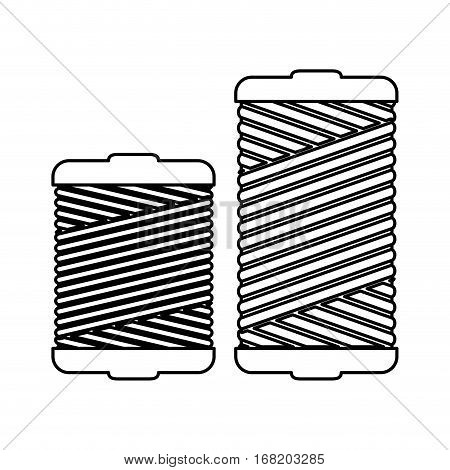 monochrome contour with thread spool pair vector illustration