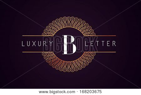 B Luxury Letter Logo. Golden Royal Luxury Letter Vector.