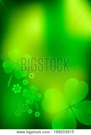 Holiday card for St. Patrick's Day in March 17. Green blurred background with shamrocks. Vector illustration