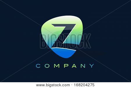 z Letter Logo. Oval Shape Modern Design with Glossy Look.