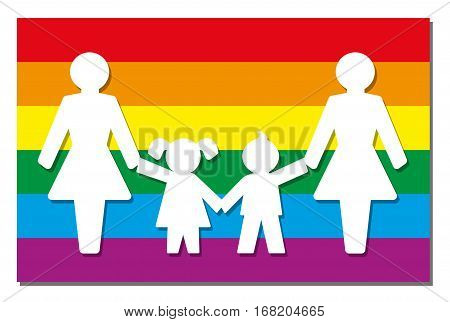 LGBT parenting - two moms with daughter and son - icon on pride flag.