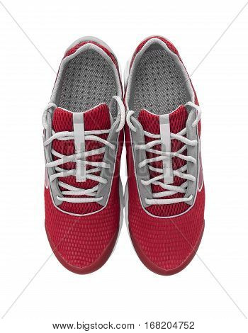 Unbranded modern sneakers isolated on a white background. Red sneakers.