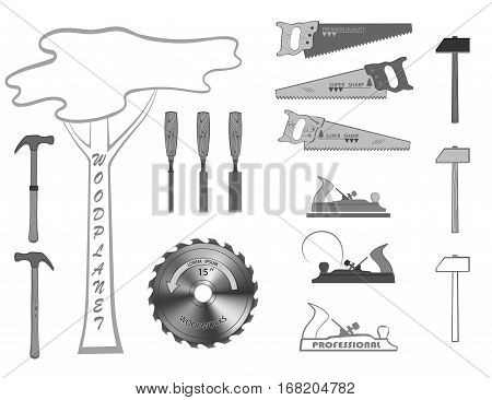 set of tools for working with wood. have a hammer, plane, handsaw, circular saw and a chisel.