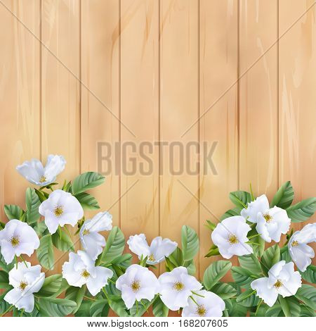 Vector white flowers on wooden planked background. Perfect for wedding, greeting or invitation design