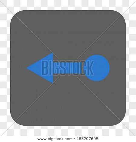Pull Left interface toolbar button. Vector icon style is a flat symbol in a rounded square button blue and gray colors chess transparent background.