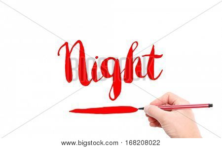 The word of Night written by hand on a white background