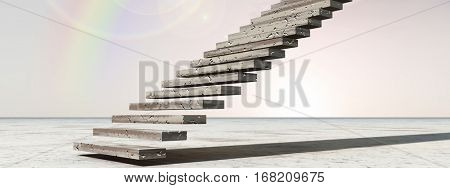 Concept conceptual 3D illustration stair steps to heaven on sky background in desert with clouds banner for success, career, work, job, achievement, development, growth, progress, vision, future faith