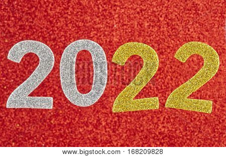 Number two thousand and twenty one over a red background. Anniversary. Horizontal