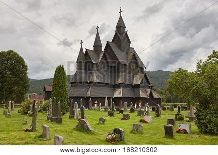 Norwegian stave church. Heddal. Historic building. Norway tourism highlight. Horizontal