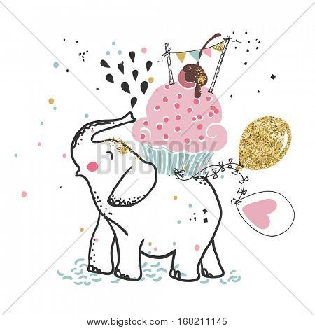 happy elephant with giant cupcake