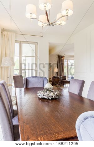 Wooden Dining Table With Comfy Chairs