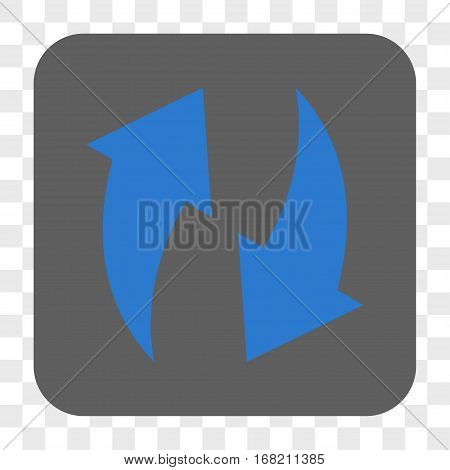 Refresh interface toolbar button. Vector icon style is a flat symbol in a rounded square button blue and gray colors chess transparent background.