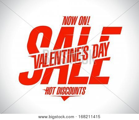 Valentine`s day sale text design concept