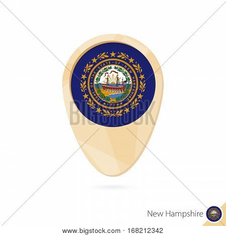 Map Pointer With Flag Of New Hampshire. Orange Abstract Map Icon.