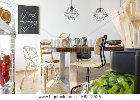 Well-lighted modern dining area for common meals