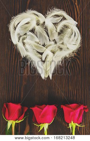 White Feather Heart And Roses