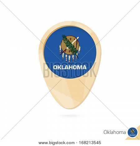 Map Pointer With Flag Of Oklahoma. Orange Abstract Map Icon.