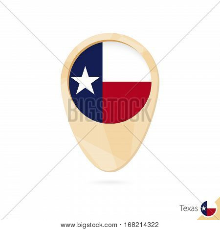 Map Pointer With Flag Of Texas. Orange Abstract Map Icon.