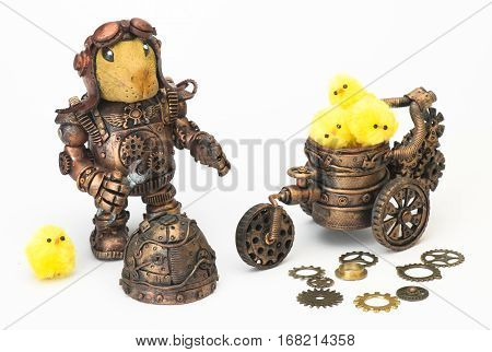 Steampunk robot. Rabbit egg tool. gear and Cyberpunk style. Chrome and bronze parts. Isolated on white.