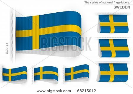 National state flag of Sweden; Sewn clothing label tag from flag of Kingdom of Sweden; Symbol of the swedish national patriotic pride and political power; Vector set icon Eps10