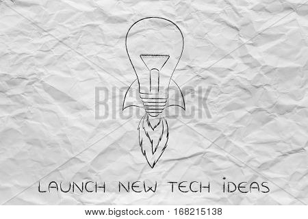 Launch New Ideas: Lightbulb With Rocket Setup
