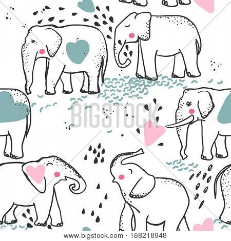 elephant in love seamless pattern