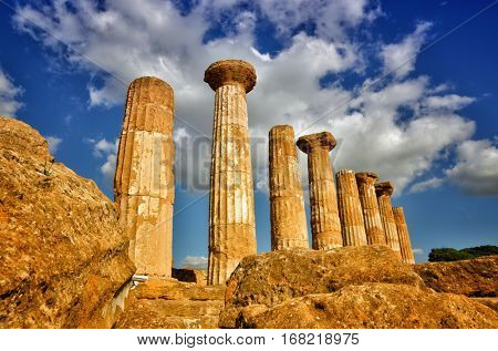 Italian destination, temple of heracles in the archaeological site in the Valley of the Temples, Agrigento, Sicily