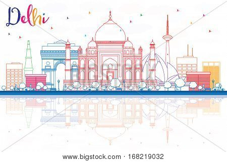 Outline Delhi Skyline with Color Buildings and Reflections. Vector Illustration. Business Travel and Tourism Concept with Historic Buildings. Image for Presentation Banner Placard and Web Site
