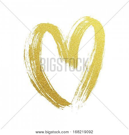 Gold foil glittering heart for Valentines Day greeting card design. Vector love symbol.