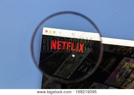 Ostersund, Sweden - Jan 19, 2017: Netflix website on a computer screen. Netflix is an American multinational entertainment company