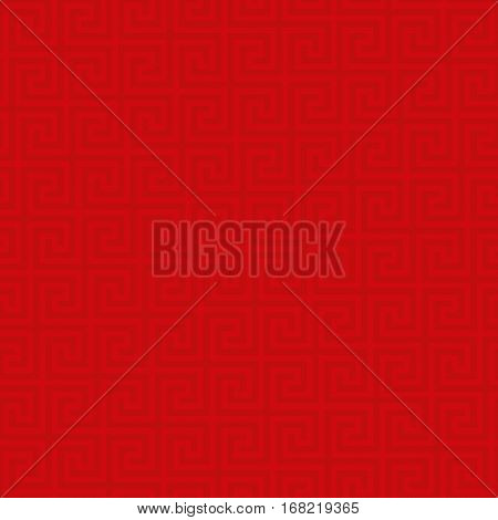 Red Classic meander seamless pattern. Greek key neutral tileable linear vector background.