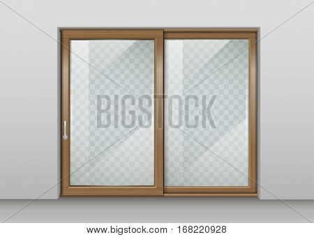 Modern wooden wide sliding door with transparent glass. Vector graphics. The interior of the room.