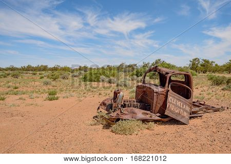 OODNADATTA AUSTRALIA - OCTOBER 24 2016: An abandoned wrecked truck on the Oodnadatta Track South Australia Australia.