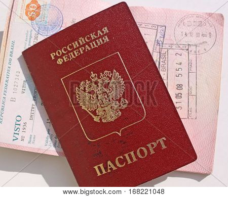 Russian international passport and passport with stamp, and visa