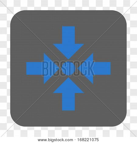 Shrink Arrows interface toolbar button. Vector icon style is a flat symbol on a rounded square button blue and gray colors chess transparent background.