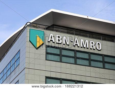 Abn Amro On  A Facade In Amsterdam