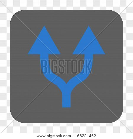 Split Arrows Up interface toolbar button. Vector icon style is a flat symbol in a rounded square button blue and gray colors chess transparent background.