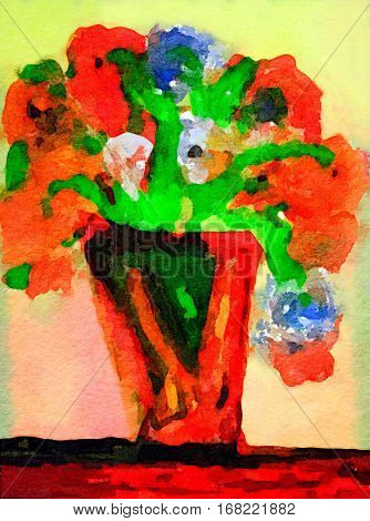 Beautiful Vase with Red flowers done in Watercolor