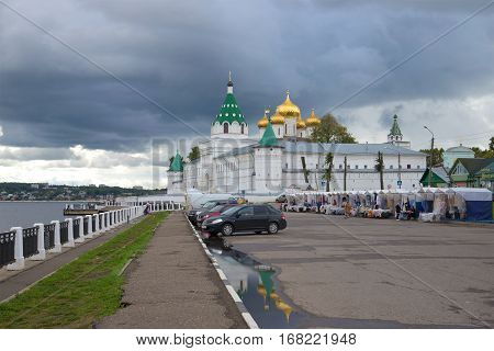KOSTROMA, RUSSIA - SEPTEMBER 08, 2016: Rainy September day at the walls of the Ipatiev monastery. The Golden ring of Russia
